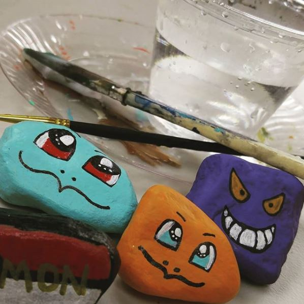 Rocks painted like Pokemon for an example of what we do in Pokemon Club!